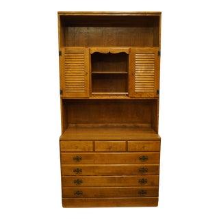 "Ethan Allen Heirloom Nutmeg Maple 40"" Crp Chest W. Shutter Door Bookcase Hutch 10-4551p / 10-4056 For Sale"