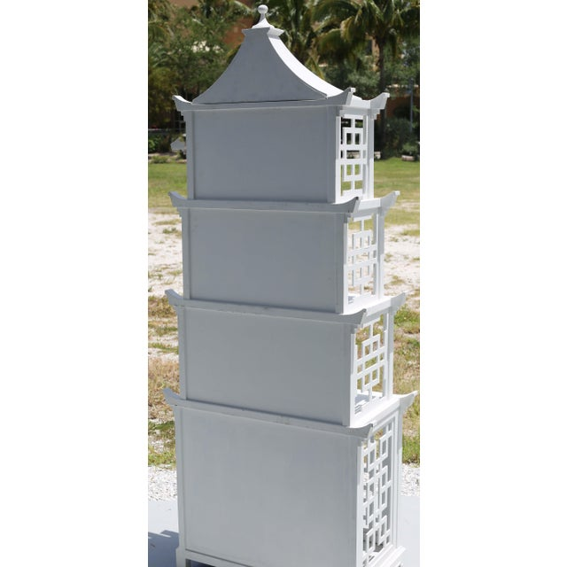 Wood Vintage Fretwork Pagoda Bookcase or Etagere For Sale - Image 7 of 12