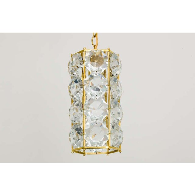 German 1960s Gilt Brass and Hexagonal Crystal Chandeliers - a Pair For Sale In New York - Image 6 of 7