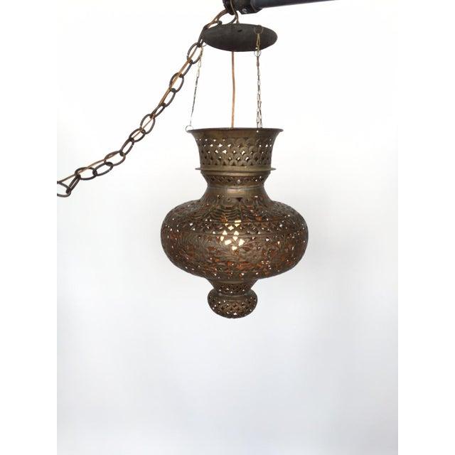 Pierced Bronze Moroccan Pendant Lamp - Image 2 of 4