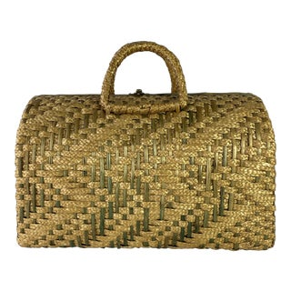 English Rattan Bag With Handle For Sale