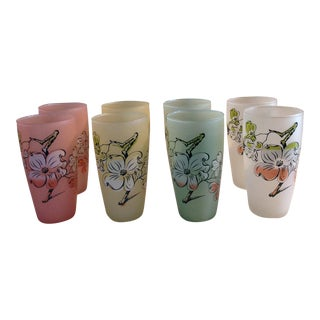Frosted Pastel Floral Painted Glasses - Set of 8 For Sale