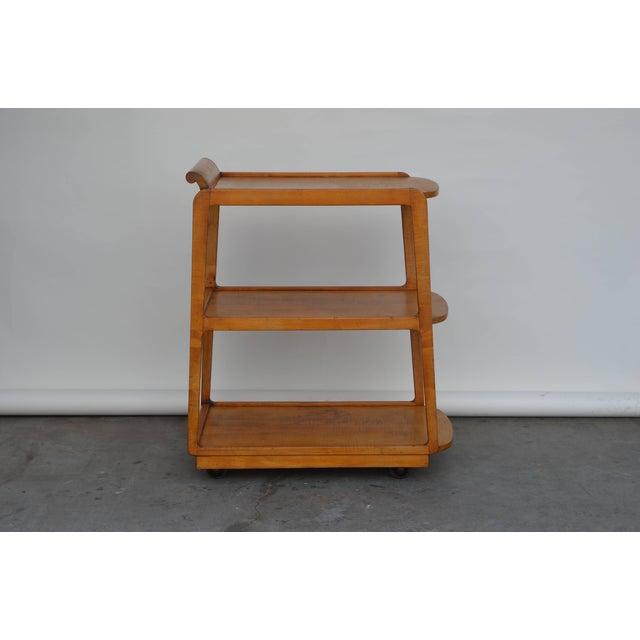 American streamline moderne maple bar cart.