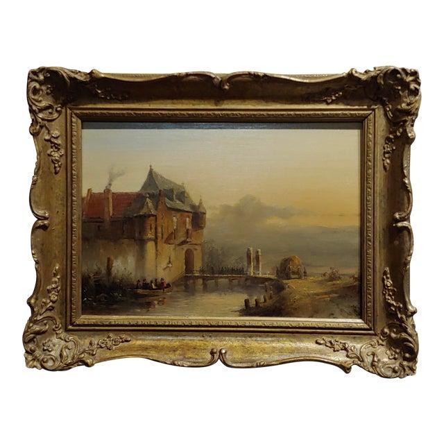 "19th Century Dutch ""Soldiers Entering a Castle"" Oil Painting by Petrus Gerardus Vertin For Sale"