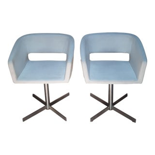 Vintage Mid-Century Key Hole White Leather Arm Chairs - a Pair For Sale