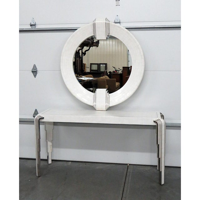 "Tavola by Oggetti Art Deco style tessellated console and mirror with chrome inlay. The mirror measures 41.5""w x 4""d x..."
