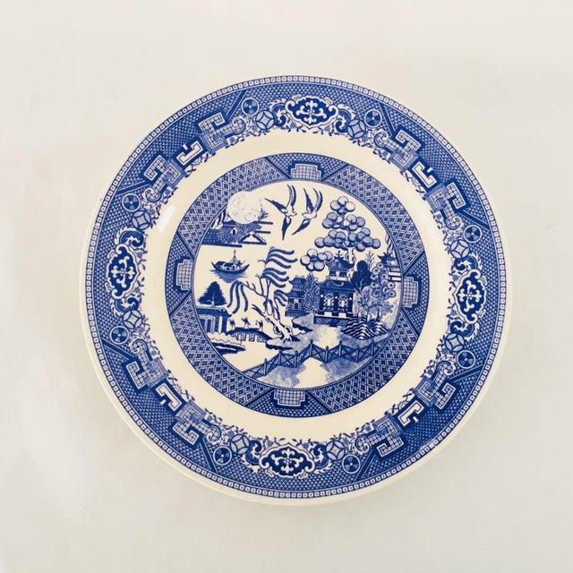 Vintage Blue Porcelain Willow Plates - Set of 3 For Sale - Image 4 of 6