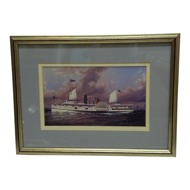 Circa 1980 Framed Paddle-Wheel Boat Print For Sale