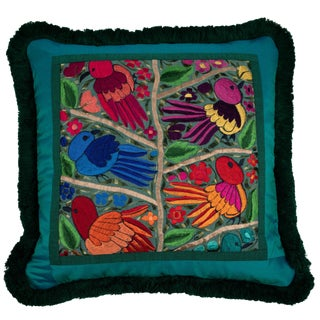 One-Of-A-Kind Pillow With Green Guatemalan Bird and Flower Embroidery