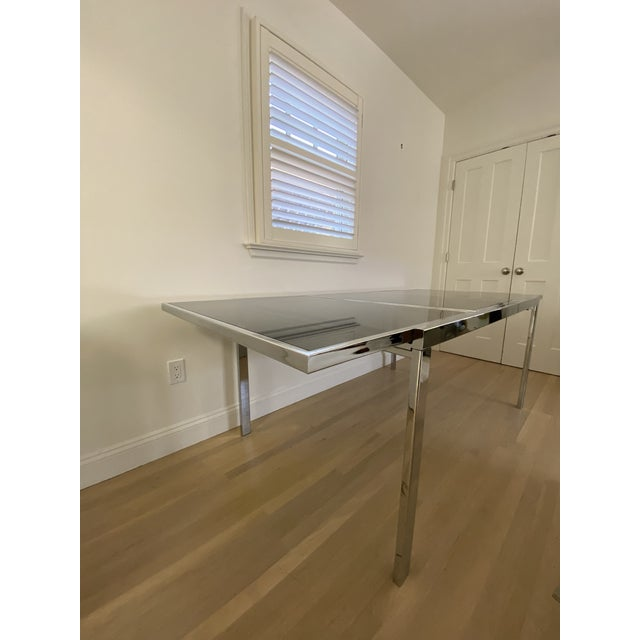 Mid-Century Modern 1970's Chrome and Smoked Glass Extension Dining Table by Milo Baughman For Sale - Image 3 of 13
