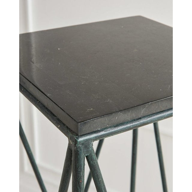 Mid-Century Modern Pair of Verdigris Iron and Black Marble Pedestals by Casa Bisque For Sale - Image 3 of 6