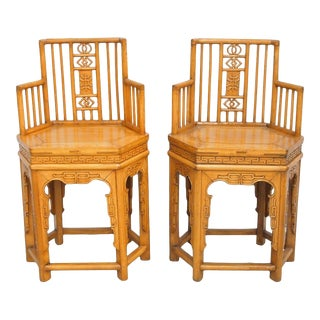 Antique 19th C. Chinese Elmwood Armchairs For Sale