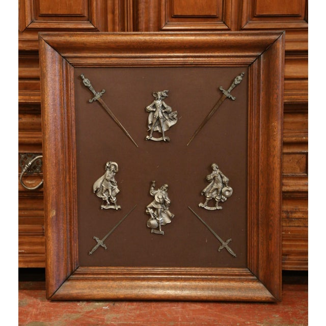 19th Century French Framed Four Musketeers and Swords Display Metal Figures For Sale - Image 9 of 9