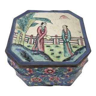 Antique Chinoiserie Enamel Box For Sale