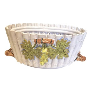 Italian Majolica White Oval Faux Bamboo Cachepot With Grapes and Twig Handles For Sale