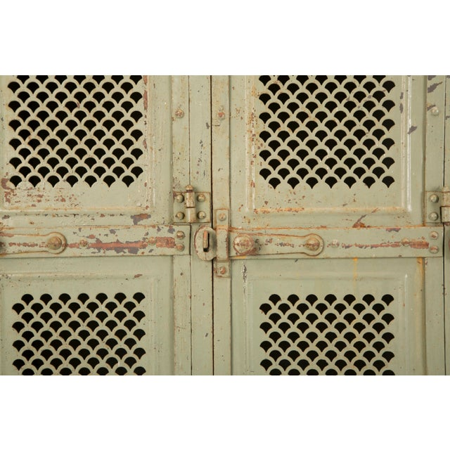 1910s Antique French Industrial Original Painted Lockers For Sale - Image 5 of 12