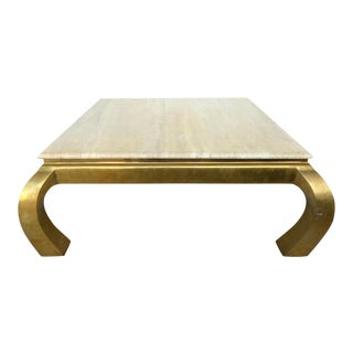 Mid-Century Springer Style Brass & Travertine Coffee Table