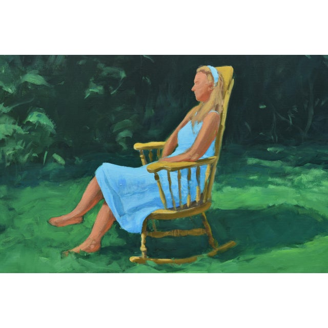 Contemporary Painting of a Woman Sitting in a Rocking Chair Outside For Sale - Image 3 of 12