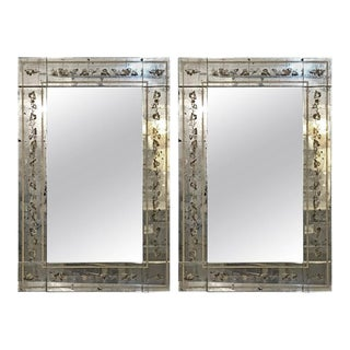 Maison Jansen Églomisé Framed Wall Mirrors - A Pair For Sale