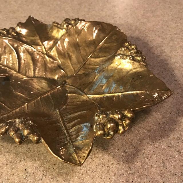 Virginia Metal Crafters Brass Lemon Leaves Tray - Image 4 of 9