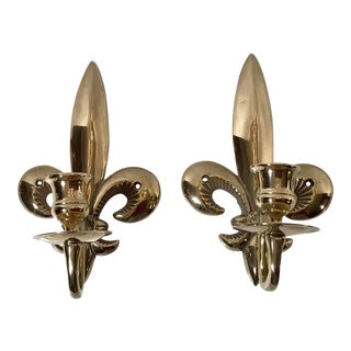 Fleur De Lis Brass Candle Wall Sconces- a Pair For Sale
