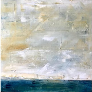 Abstract Sky and Sea Landscape, Blue, Yellow Oil on Canvas For Sale