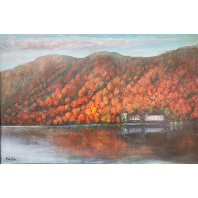 Americana Vintage Fall Landscape Painting Oil on Canvas For Sale - Image 3 of 7