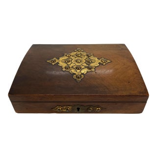 Walnut Games Box, Engraved Brasses, With Royal Game of Bezique Set, 1869 For Sale