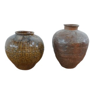 Antique Chinese Martaban Jars - a Pair For Sale