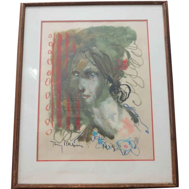 1970's Mixed Media Abstract Portrait of a Lady - Image 1 of 4