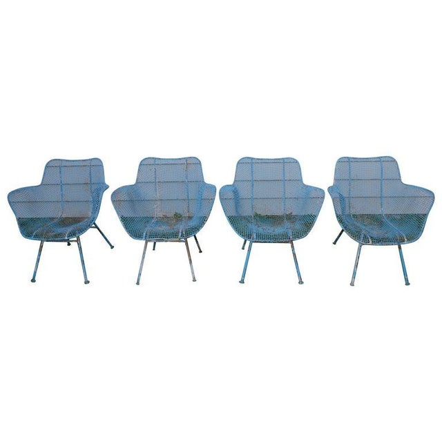 Russell Woodard Sculptura Wire Patio Chairs, Set of 4, in As-Found Sea Sky Blue For Sale - Image 13 of 13