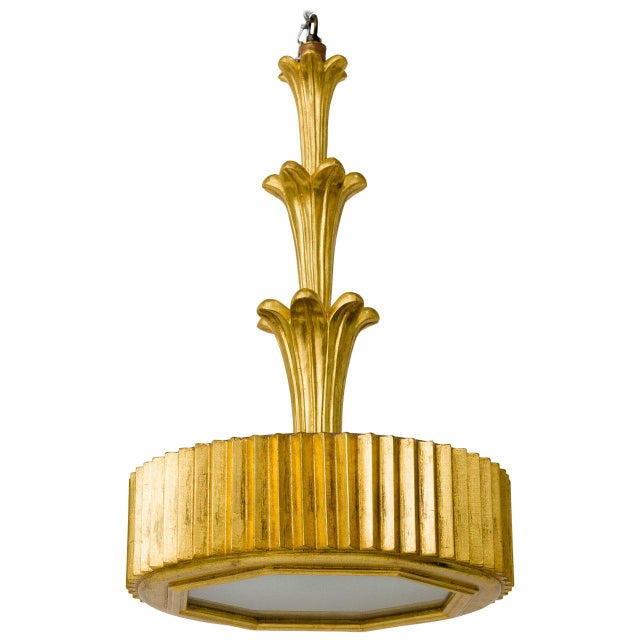 Wood Hand-Carved Wood and Gold Leaf Chandelier For Sale - Image 7 of 7