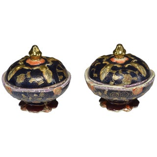 Antique Japanese Meiji Period Porcelain Trinket or Jewelry Boxes - a Pair For Sale