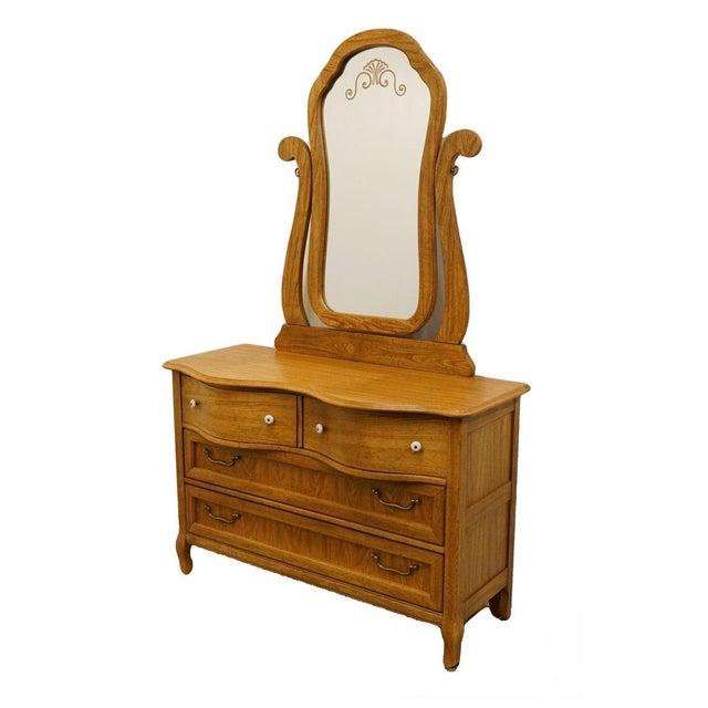 Pulaski Furniture Keepsakes Collection Oak Dresser & Wishbone Mirror For Sale - Image 13 of 13