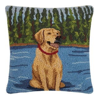 """Lab Sit on the Lake Hook Pillow, 16"""" x 16"""" For Sale"""