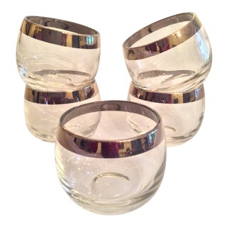 Mid-Century Dorothy Thorpe Inspired Roly Poly Whiskey Glasses - Set of 5 For Sale