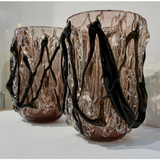 2000s Venetian modern sculpture pair of large high quality Murano glass vases, the clear glass body with exceptional...