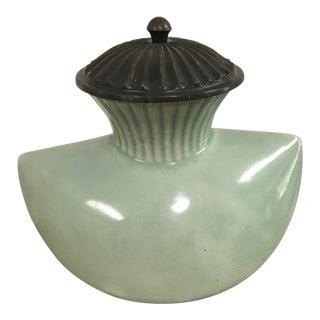 Boat Shaped Celadon Porcelain Vase With Metal Lid For Sale