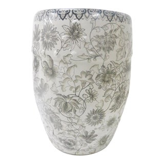 Chinese Black & White Floral Garden Stool