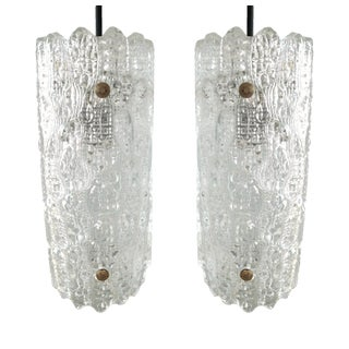 Scandinavian Mid-Century Cylindrical Orrefors Glass Pendant Lights - A Pair For Sale