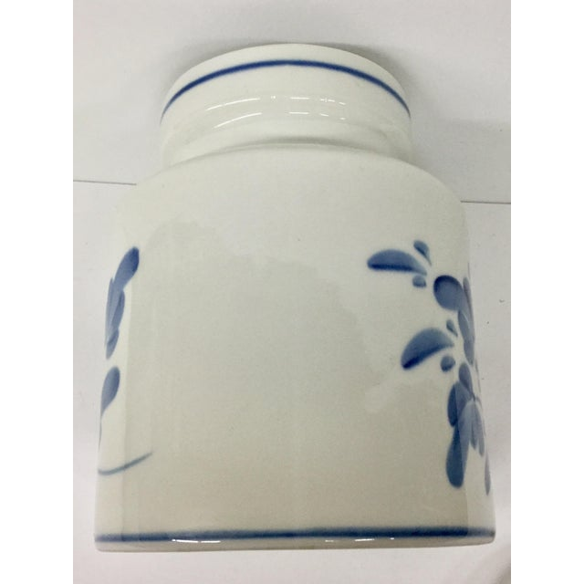 1980s Mediterranean Blue and White Cookie Jar For Sale - Image 11 of 13