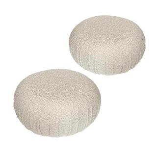Pair of Faux Shearling Souffle Pouf Ottomans For Sale