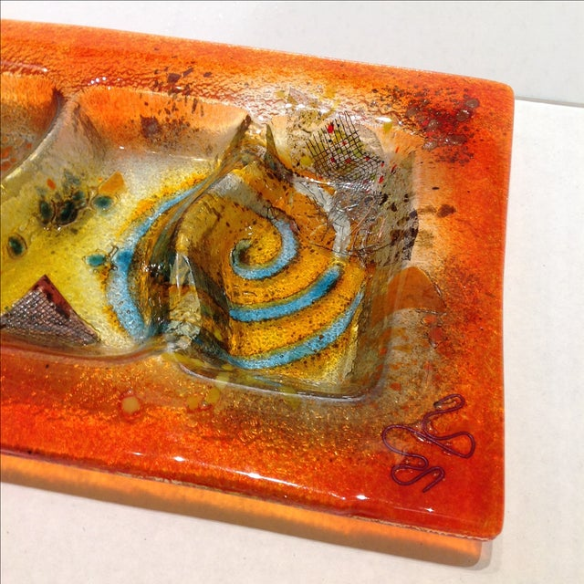 Fused Glass Art Dish For Sale - Image 4 of 10