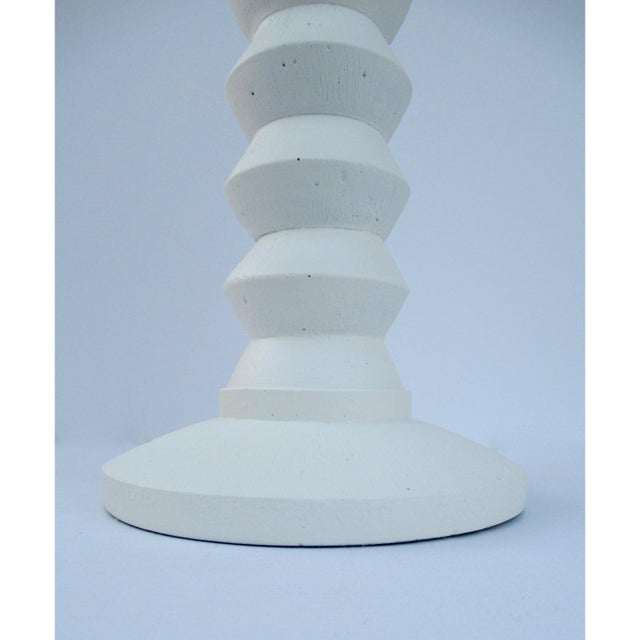 Metal Vintage Mid-Century Modern Plaster Zig-Zag Tiered Lamp For Sale - Image 7 of 13