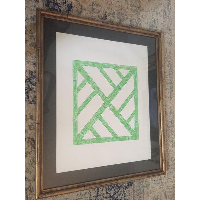 Palm Beach Regency Faux Bamboo Framed Trellis Art For Sale - Image 9 of 10