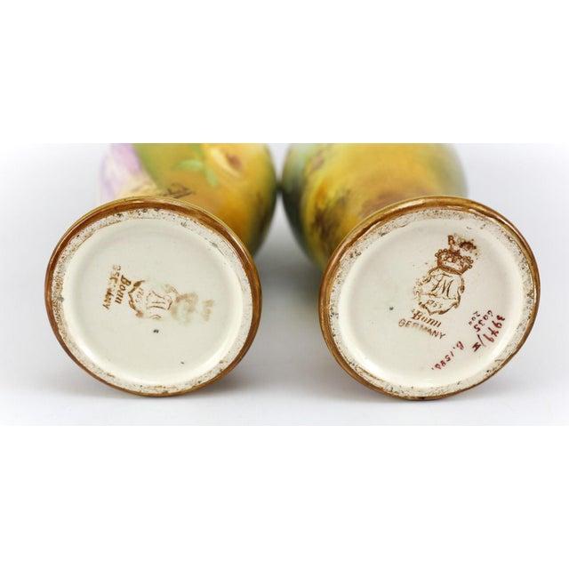 Ceramic Franz Anton Mehlem Royal Bonn Porcelain Hand Painted Portait Vases - A Pair For Sale - Image 7 of 8