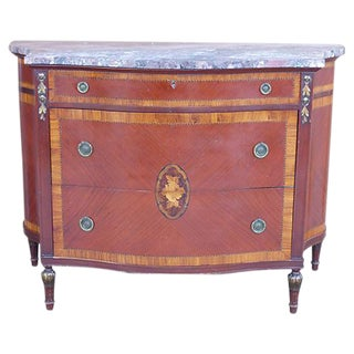 Marquetry & Inlay Marble Top Chest For Sale