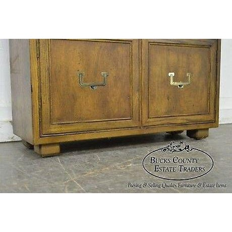 High quality America made cabinet base open bookcase.~ Recessed hardware on two bottom doors.
