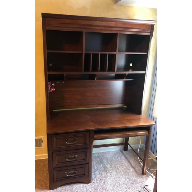 Solidly constructed, sturdy walnut desk with hutch, excellent for organization, cubbies, shelves, mail slots, pull drawer...