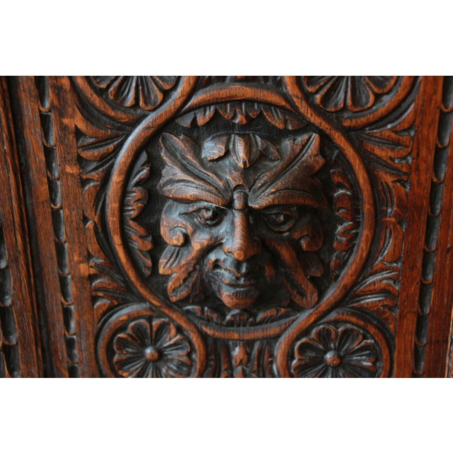 19th Century English Ornate Carved Oak Sideboard Bar Cabinet For Sale - Image 11 of 13
